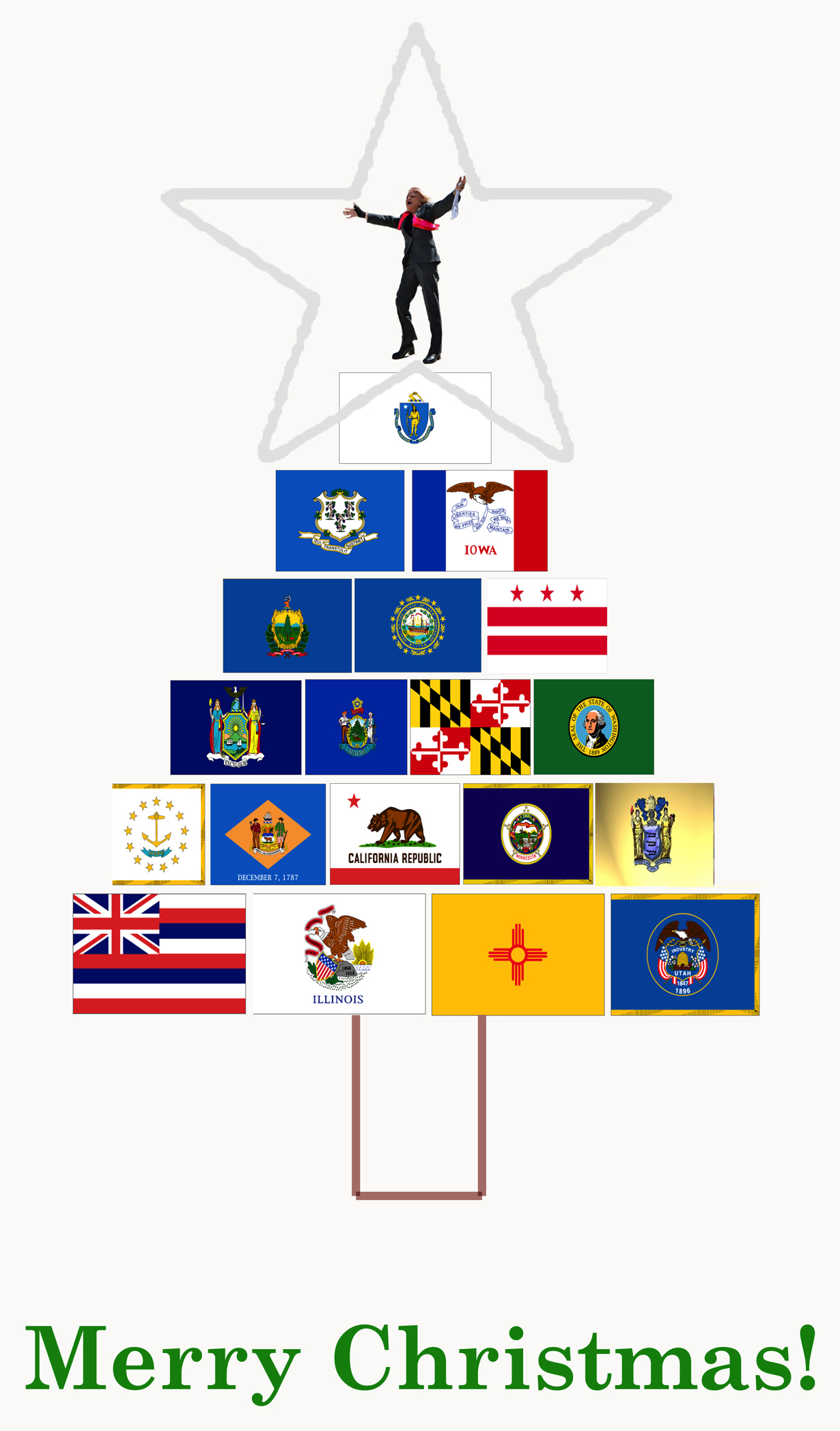 Christmas Tree Graphic Made with State Flags